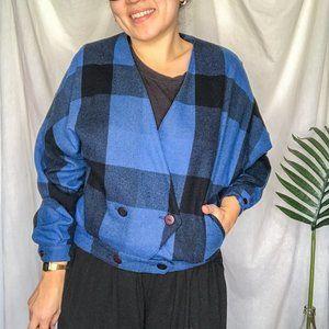 70s Vintage Blue Plaid Crop Sweater Jacket Wool